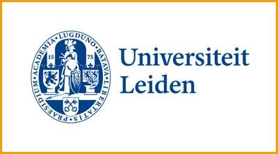 Logo universiteit Leiden met kader oranje
