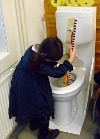 Toilet (geleend van Gamma) voor onderzoek in de klas.